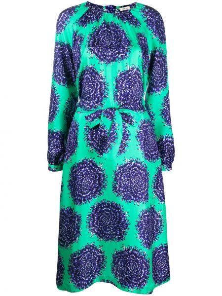 Зеленое шелковое платье на пуговицах с вырезом Odeeh