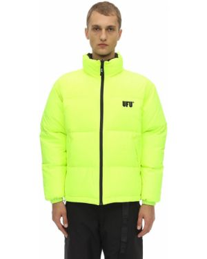 Żółta kurtka puchowa z haftem Ufu - Used Future