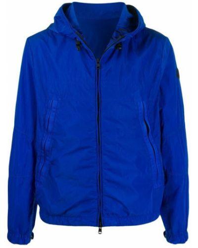 Niebieska długa kurtka z kapturem miejska Moncler