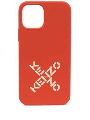 Pomarańczowe etui na okulary silikon z printem Kenzo