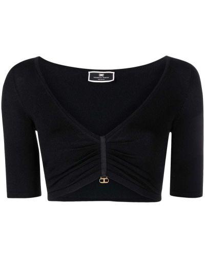 Черная блузка с вырезом из вискозы Elisabetta Franchi