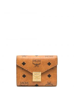 Brązowy skórzany portfel z gniazdem z kieszeniami Mcm