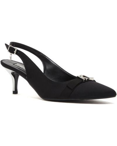 Туфли на каблуке черные с открытой пяткой Karl Lagerfeld