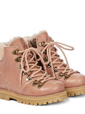 Розовые кожаные ботинки Petit Nord