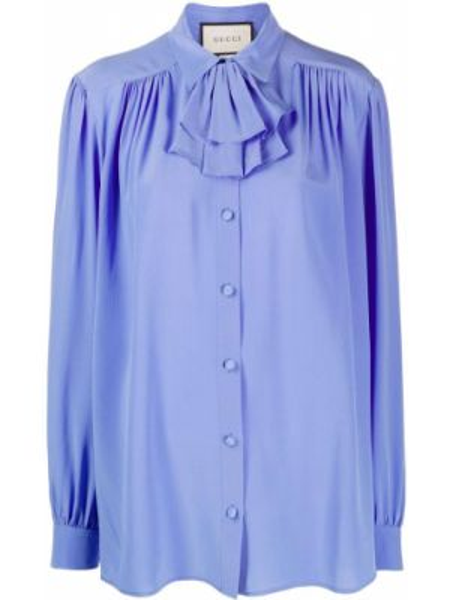 Bluzka jedwabna z falbankami Gucci