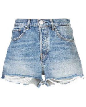 Джинсовые шорты с бахромой - синие Rag & Bone/jean