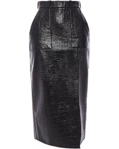 Юбка миди с карманами - черная David Koma