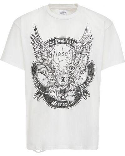 Biały t-shirt bawełniany vintage The People Vs