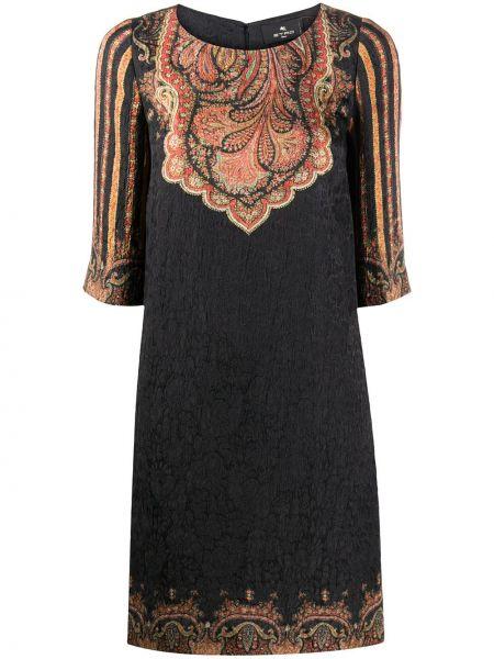 Шелковое черное платье мини трапеция Etro
