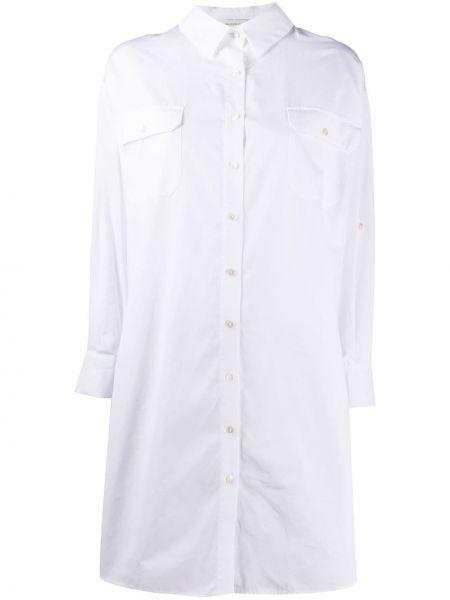 Хлопковая с рукавами белая классическая рубашка Maison Ullens