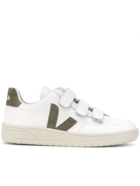 Белые кожаные кроссовки с заплатками круглые из натуральной кожи Veja