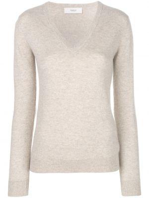 Приталенный бежевый кашемировый свитер с V-образным вырезом Pringle Of Scotland
