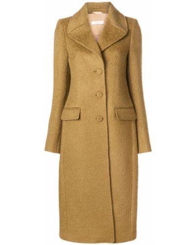 Однобортное пальто с капюшоном из мохера Ssheena