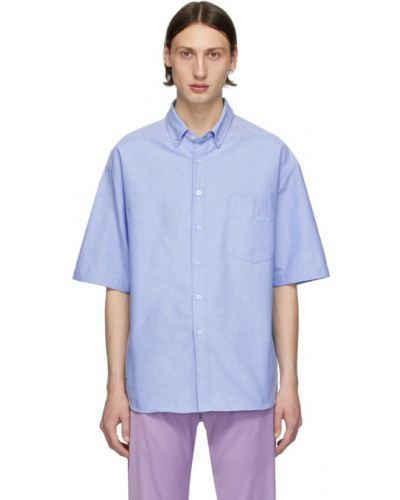 Niebieski bawełna bawełna z rękawami koszula oxford Noon Goons
