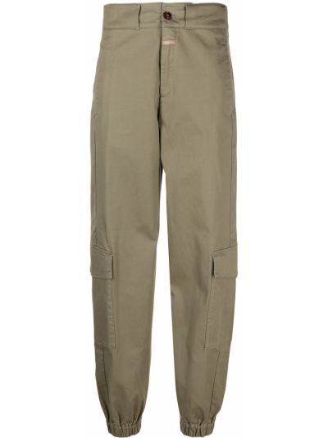 Хлопковые зеленые брюки карго стрейч Closed