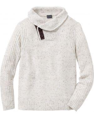Пуловер с воротником бежевый Bonprix