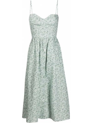 Zielona sukienka midi w kwiaty rozkloszowana Reformation