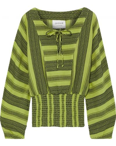 Хлопковая блузка - зеленая Cecilie Copenhagen