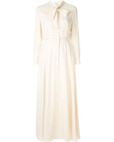 Приталенное льняное платье макси с манжетами Layeur