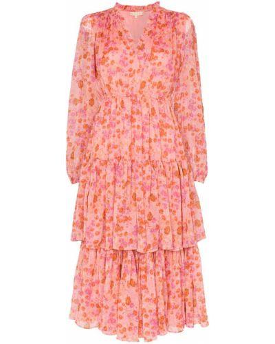 Розовое платье миди винтажное на резинке на молнии By Timo