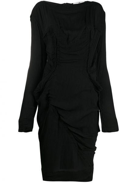 Шелковое черное платье миди с длинными рукавами Vivienne Westwood