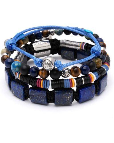 Niebieska bransoletka z koralikami srebrna Nialaya Jewelry