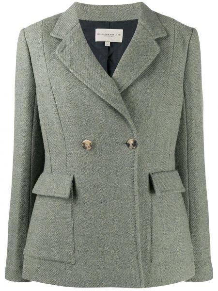 Приталенная зеленая классическая куртка двубортная Holland & Holland