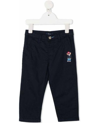 Синие брюки чиносы с вышивкой с карманами на молнии Harmont & Blaine Junior