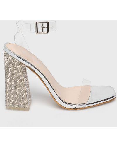 Туфли на каблуке прозрачные серебряный Public Desire