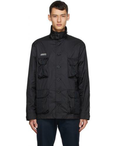 Z rękawami nylon czarny długa kurtka z mankietami Adidas Originals