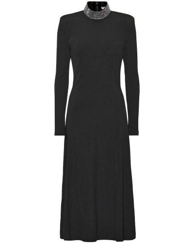 Czarny sukienka midi rozciągać z wiskozy Christopher Kane