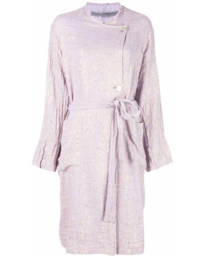 Фиолетовое длинное пальто с капюшоном на пуговицах Raquel Allegra
