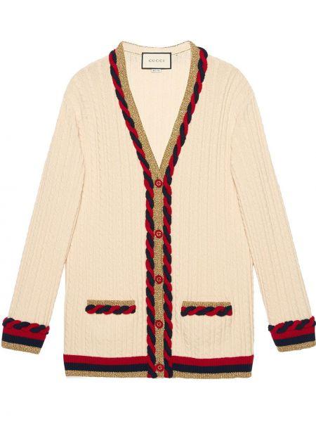 Белый вязаный кардиган оверсайз с люрексом на пуговицах Gucci
