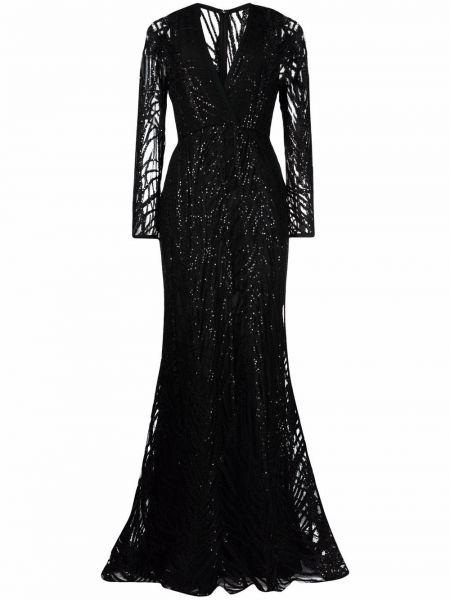 Черное платье с V-образным вырезом Elie Saab