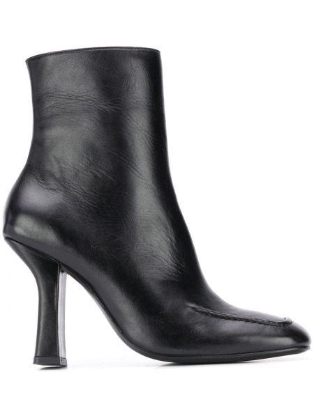 Черные сапоги без каблука на каблуке с квадратным носком квадратные Dorateymur