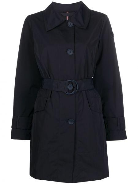 Однобортное синее пальто классическое с поясом с воротником Peuterey