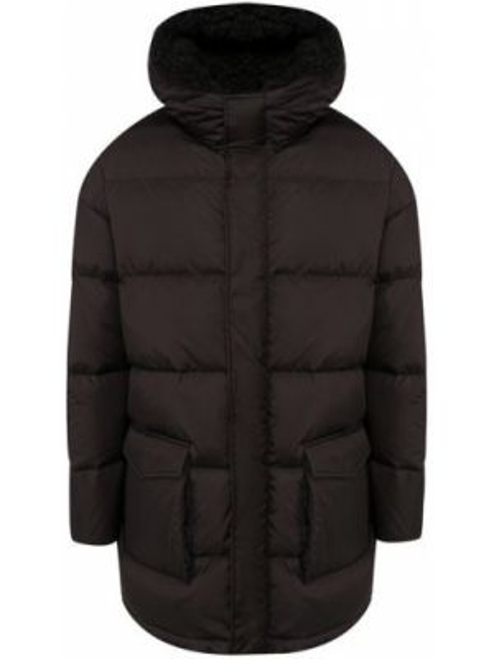 Текстильная черная куртка с капюшоном с декоративной отделкой с воротником Lempelius
