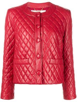 Кожаная куртка на пуговицах - красная Adam Lippes