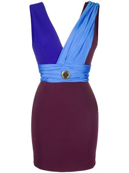 Платье с V-образным вырезом синее Fausto Puglisi