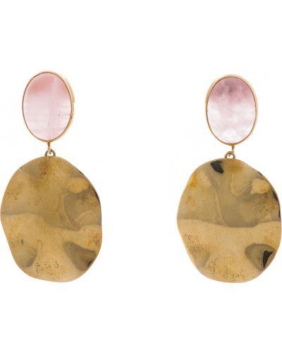 Серебряные серьги с кварцем золотые Adami & Martucci