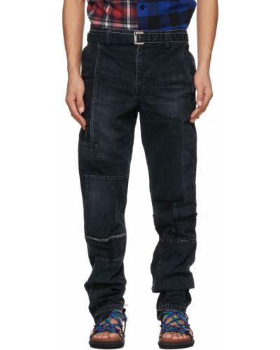 Czarne jeansy z paskiem srebrne Sacai
