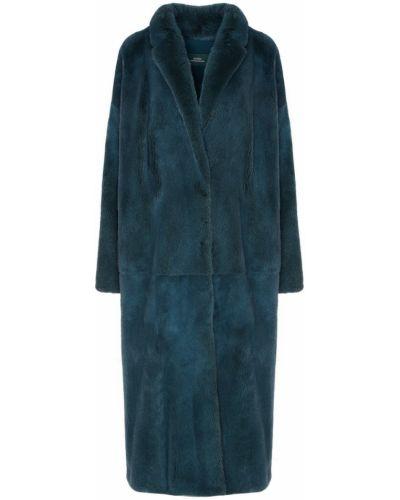 Норковое зеленое длинное пальто с мехом Alena Akhmadullina