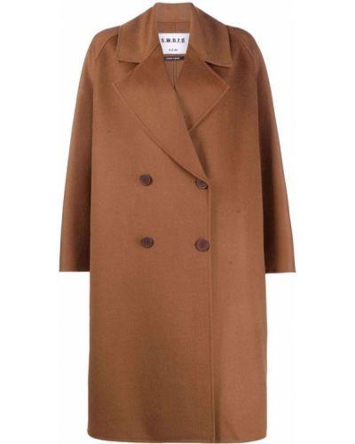 Коричневое пальто с воротником S.w.o.r.d 6.6.44