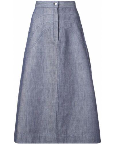 Прямая синяя юбка миди в рубчик на пуговицах Jill Stuart