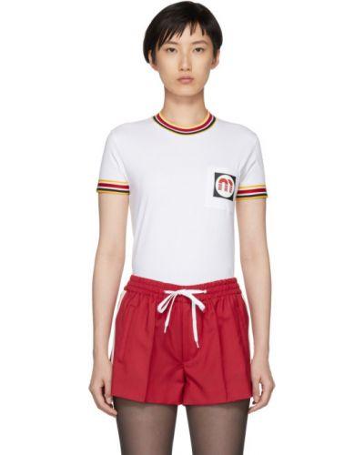 Рубашка с коротким рукавом с манжетами с воротником винтажная с карманами Miu Miu