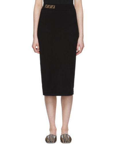 Черная юбка макси жаккардовая Fendi