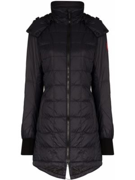 Нейлоновый черный длинное пальто с капюшоном Canada Goose