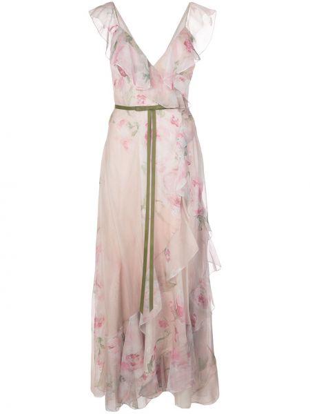 Różowa sukienka długa z falbanami w kwiaty Marchesa Notte