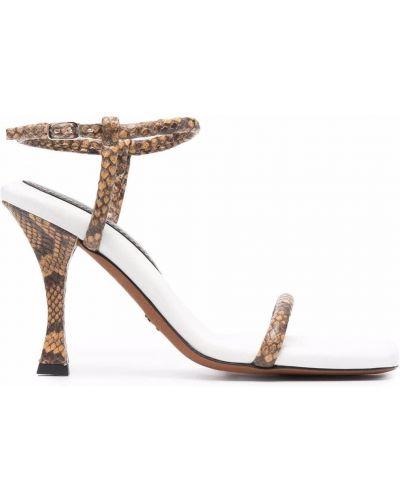 Brązowe sandały na obcasie skorzane Proenza Schouler
