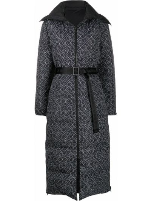 Puchaty prosto czarny kurtka z kołnierzem Karl Lagerfeld